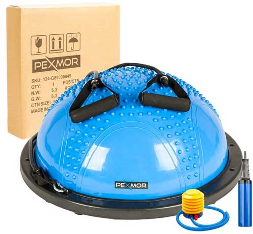 Balance Trainer Half Ball Package with resistance bands and dual action pump