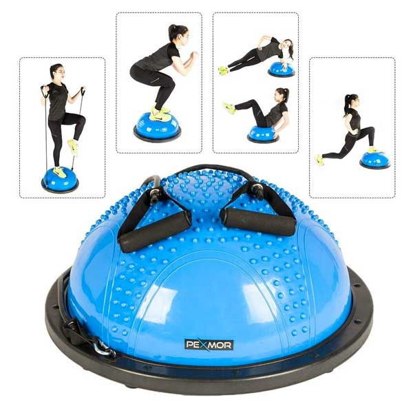 Balance Trainer Half Ball with Resistance Bands - for Stability and Strength-Building Exercises